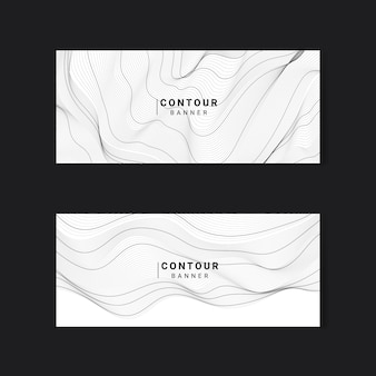 Ustaw banery czarno-białe abstrakcyjne linie konturowe