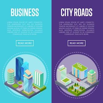 Ustaw banery dzielnicy biznesowej w centrum miasta