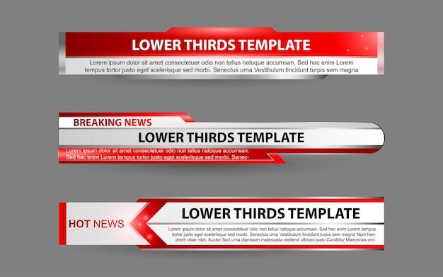 Ustaw banery i dolne trzecie dla kanału informacyjnego w kolorze czerwonym i białym