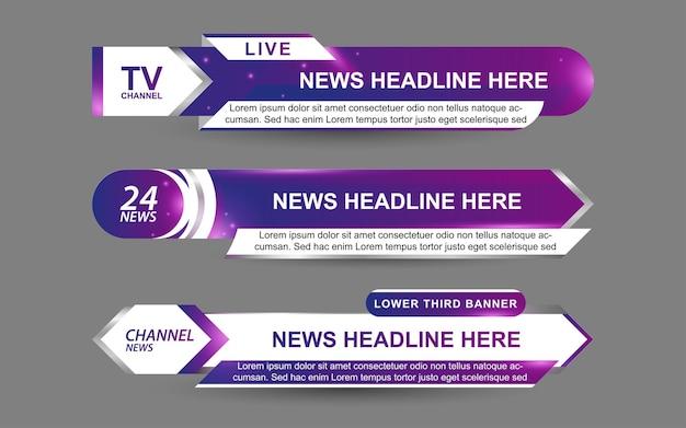 Ustaw banery i dolne trzecie dla kanału informacyjnego w kolorze fioletowym i białym