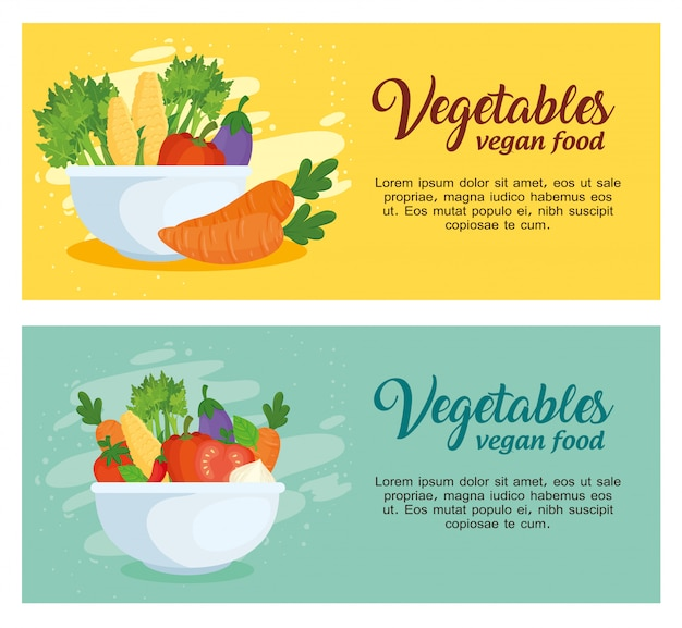 Ustaw banery z warzywami, koncepcja zdrowej żywności