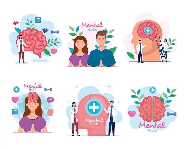 Ustaw banery zdrowia psychicznego z ikonami