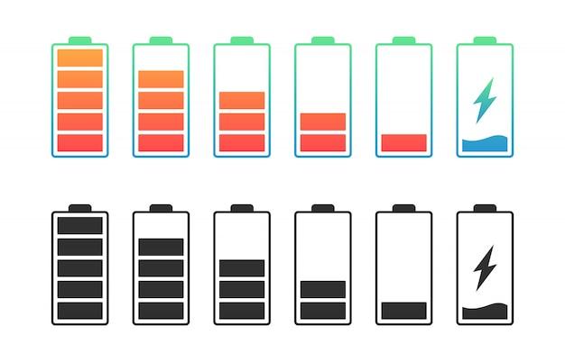 Ustaw baterię o różnym poziomie naładowania. wskaźnik akumulatora samochodowego, znaki ładowania akumulatora. znak energii ładowania bezprzewodowego.
