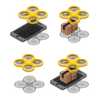 Ustaw bezprzewodową dostawę dronów online izometrycznie. pakiet paczek dostawy za pomocą drona na ekranie smartfona
