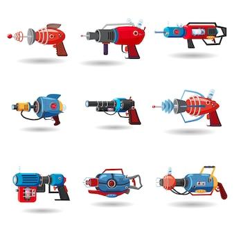 Ustaw blaster przestrzeni retro kreskówka, pistolet promień, broń laserowa