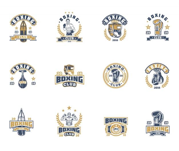 Ustaw bokserskie odznaki, naklejki na białym.