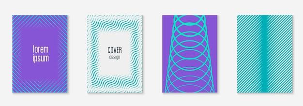 Ustaw broszurę. kolorowa aplikacja internetowa, certyfikat, baner, koncepcja raportu. niebieski i fioletowy. ustaw broszurę jako minimalistyczną modną okładkę. element geometryczny linii.