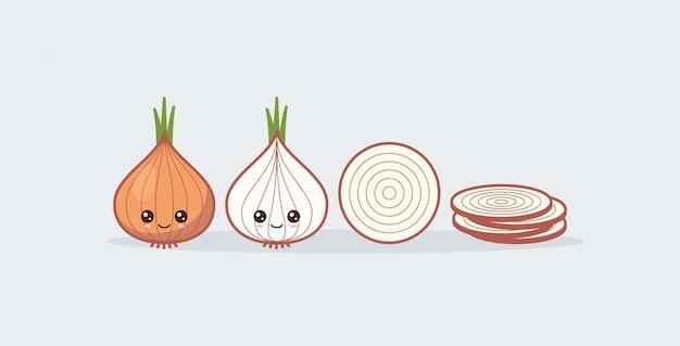 Ustaw cebulę. słodkie kawaii uśmiechnięte jedzenie.
