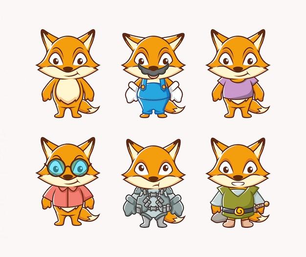 Ustaw charakter ilustracji cute lisa z innym kostiumem i wyrazem twarzy