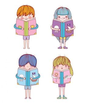 Ustaw chłopców i dziewczęta z edukacją dla książek