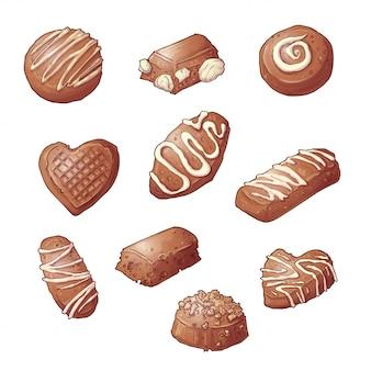 Ustaw cukierki czekoladowe. ilustracji wektorowych rysunek odręczny