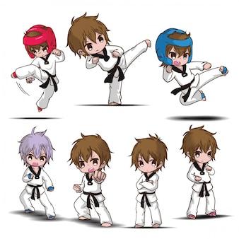 Ustaw cute postać z kreskówki chłopiec taekwondo.