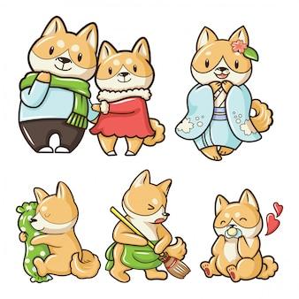 Ustaw cute shiba inu pies postać z kreskówki.