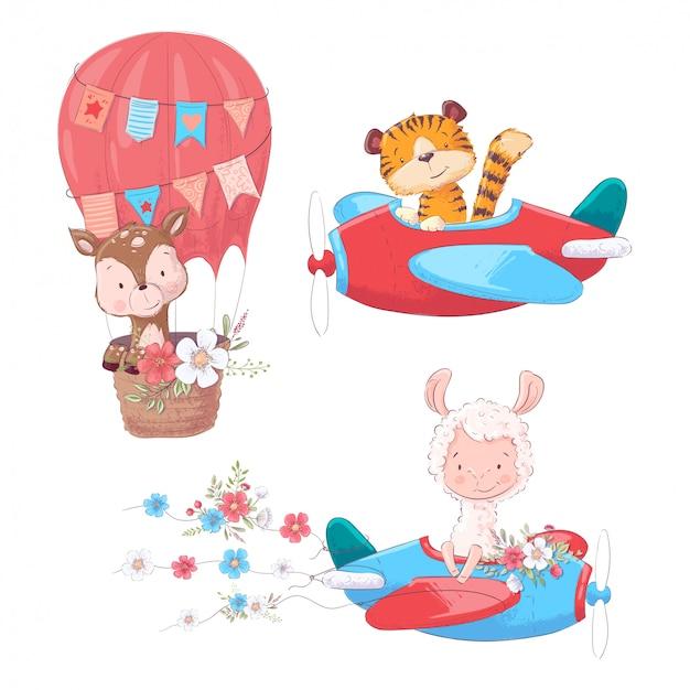 Ustaw cute zwierząt kreskówki jelenia tygrysa i lamy na samolot i balon dzieci clipart.