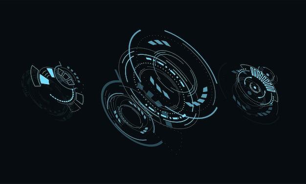 Ustaw cyfrowy futurystyczny interfejs użytkownika hud dla aplikacji i sieci abstrakcyjna ilustracja wektorowa