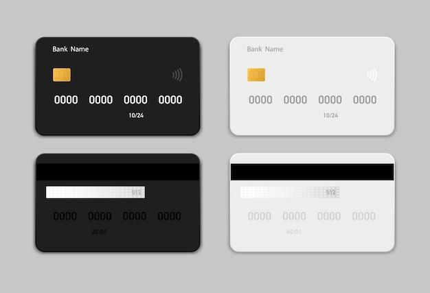 Ustaw czarno-białą kartę kredytową (debetową) w stylu płaskiej. projektowanie szablonów kart kredytowych do prezentacji. płaskie karty kredytowe na białym tle na szarym tle.