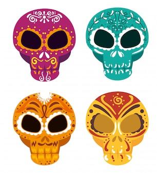 Ustaw czaszki z ozdobną dekoracją na dzień zmarłych