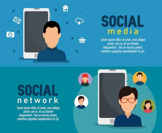 Ustaw człowieka z technologią smartfona w mediach społecznościowych
