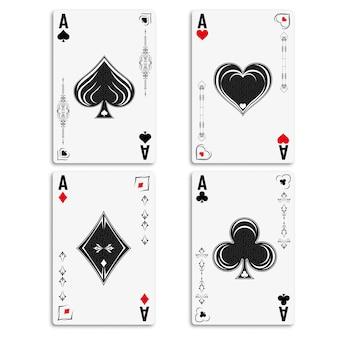Ustaw cztery asy do gry w pokera i kasyno.