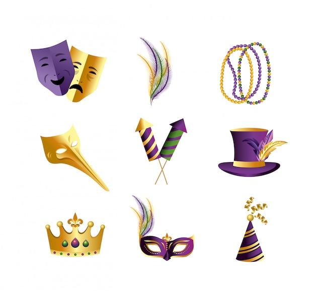 Ustaw dekorację merdi gras, aby świętować wydarzenie