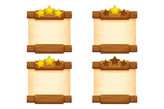 Ustaw drewniane deski z pergaminem na ekranie gry na poziomie kreskówek na białym tle
