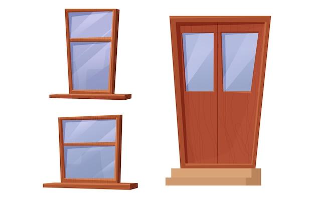 Ustaw drewniane okna i drzwi w stylu kreskówki na białym tle