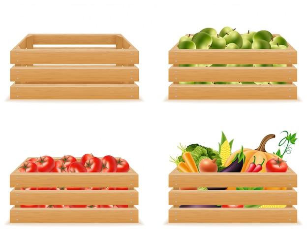 Ustaw drewniane pudełko z ilustracji wektorowych świeżych i zdrowych warzyw