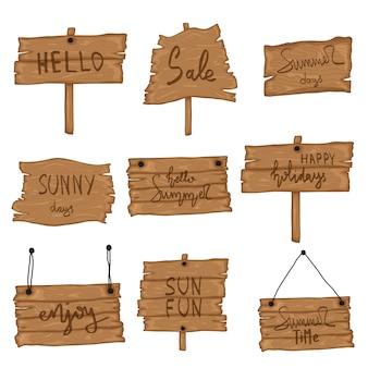 Ustaw drewniany stary znak w stylu retro kreskówka na białym tle. impreza na plaży, sprzedaż, witaj lato