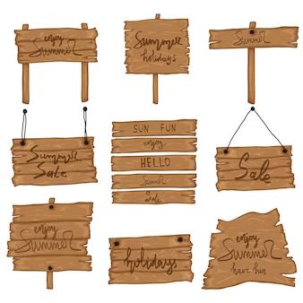 Ustaw drewniany stary znak w stylu retro kreskówki