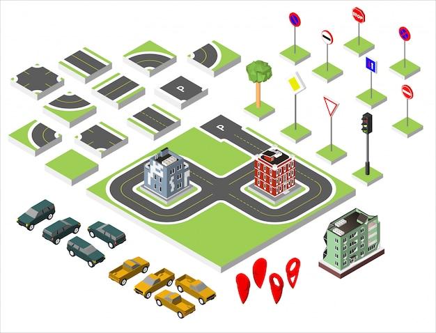 Ustaw drogi izometryczne i samochody wektorowe, wspólne przepisy ruchu drogowego, budynek z oknami i klimatyzacją.