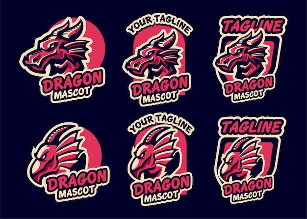 Ustaw drużynę e-sportową dragon logo