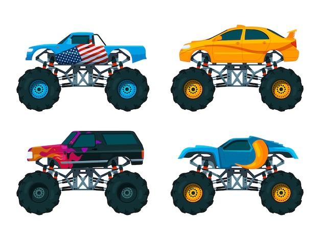 Ustaw duże samochody monster truck. zestaw zdjęć wektorowych