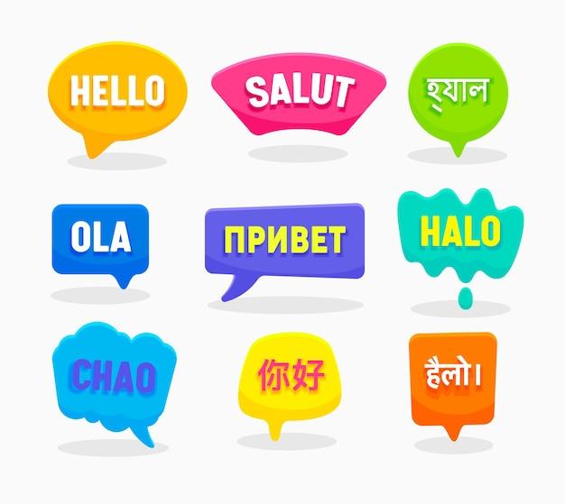 Ustaw dymki hello word w różnych językach angielski chiński hiszpański rosyjski bengalski hindi indonezyjski francuski włoski na białym tle.