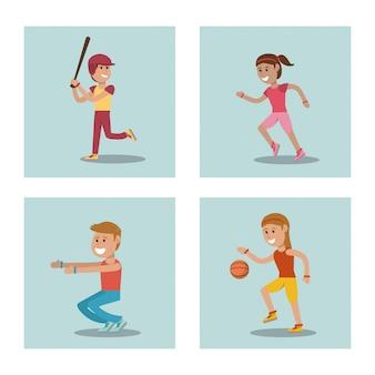 Ustaw dzieci grających w wychowanie fizyczne w szkole sportowej