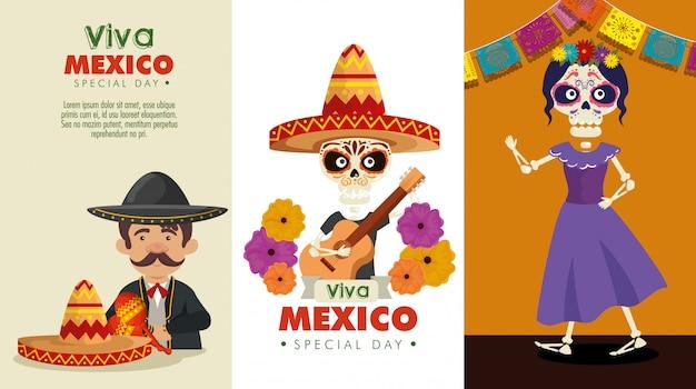 Ustaw dzień świętowania zmarłych z mariachi i szkieletami