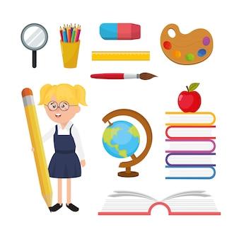 Ustaw dziewczynę studenta z przyborami szkolnymi