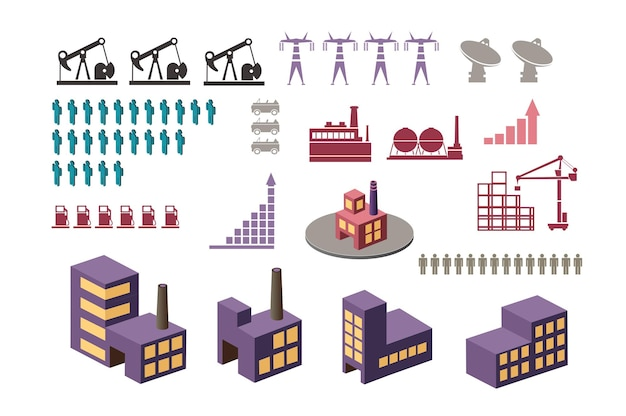 Ustaw elementy infografiki na temat miejski. zestaw budynków i budowli.