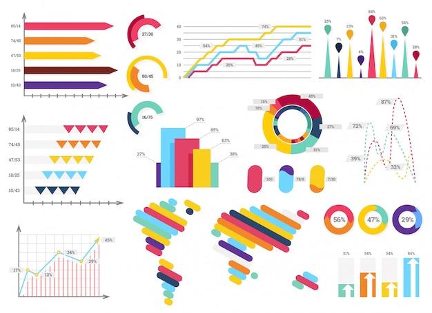 Ustaw elementy infografiki. paski informacji, wykresy