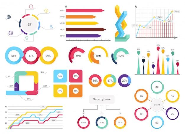 Ustaw elementy infografiki. paski informacyjne, graficzne