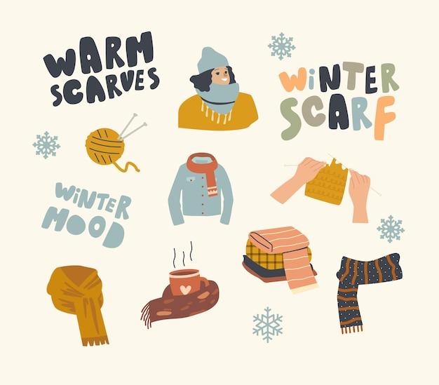Ustaw elementy motywu ciepłej odzieży. clew i dziewiarskie igły z młodą kobietą w ciepłym kapeluszu i szaliku