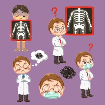 Ustaw emocje lekarza ze stetoskopem i pacjenta z prześwietleniem filmu, w postaci z kreskówki, izolowana płaska ilustracja