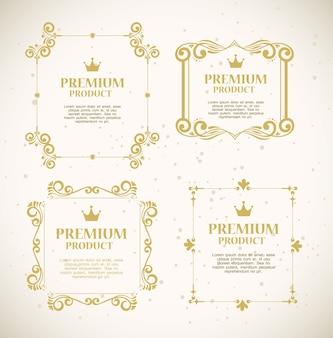 Ustaw etykiety z luksusowymi złotymi ozdobnymi ramkami