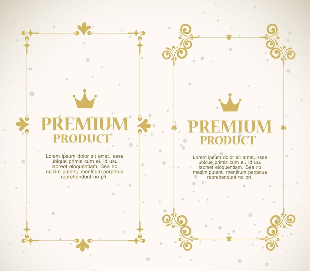 Ustaw etykiety z ozdobnymi złotymi ramkami