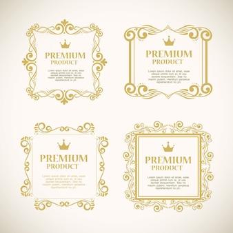 Ustaw etykiety ze złotymi ozdobnymi ramkami