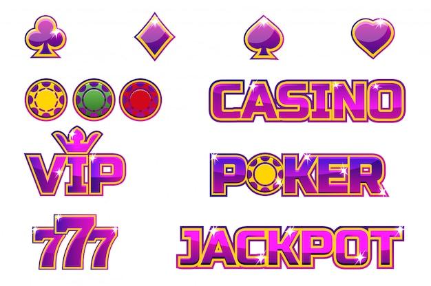 Ustaw fioletowe logo jackpot, poker, 777, casino i vip. złote żetony
