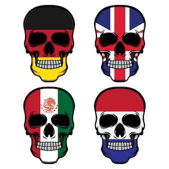 Ustaw flagę czaszki głowy