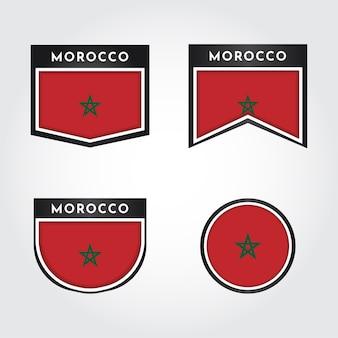 Ustaw flagę maroka z etykietą