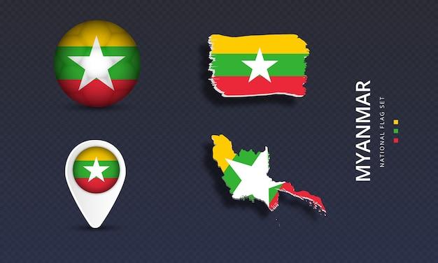 Ustaw flagę narodową kraju myanmar