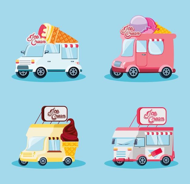 Ustaw furgonetki z lodami