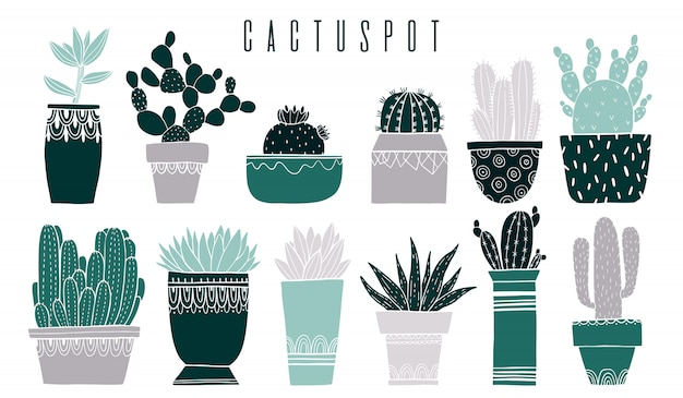 Ustaw garnek kaktusów i soczyste w stylu szkicu.